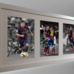 Lionel Messi Neymar Jr Signed Barcelona Photo Photograph Picture. Black/White frame. Autographed.