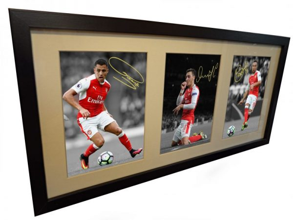 Alexis Sanchez, Mesut Ozil, Santi Cazorla. Signed Arsenal Photo Photograph Picture Frame.