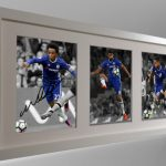Diego Costa, Eden Hazard, Willian. Signed Chelsea Photo Photograph Picture Frame.