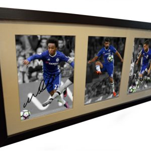 Diego Costa, Eden Hazard, Willian. Signed Chelsea Photo Photograph Picture Frame. 2016/17. Black/White frame. Photograph Autographed.