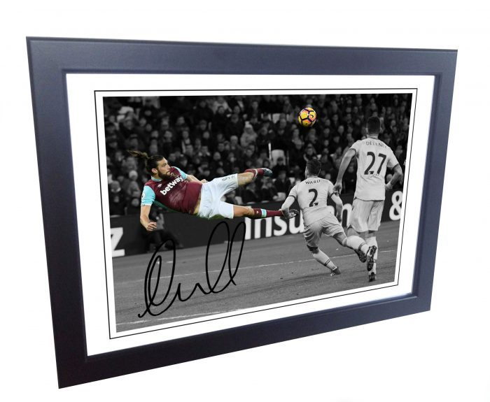 Andy Carroll. Signed West Ham Photo Picture Photograph Overhead Goal