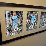 Sergio Aguero, De Bruyne, Stones. Signed Manchester City Photograph Photo Picture.