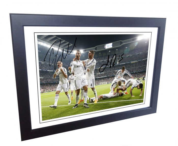Cristiano Ronaldo, Sergio Ramos. Signed Real Madrid Photo Picture Photograph Frame.