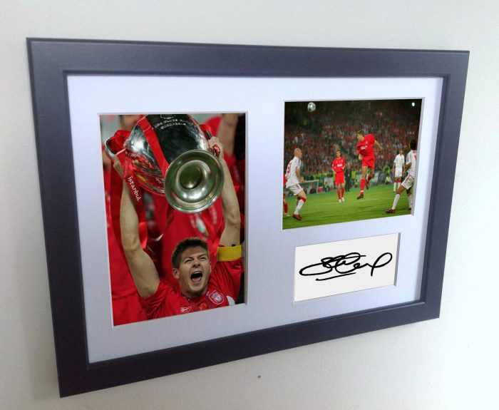 Steven Gerrard. Signed Liverpool European Cup Photo Photograph Picture Frame. Autographed Reprint.
