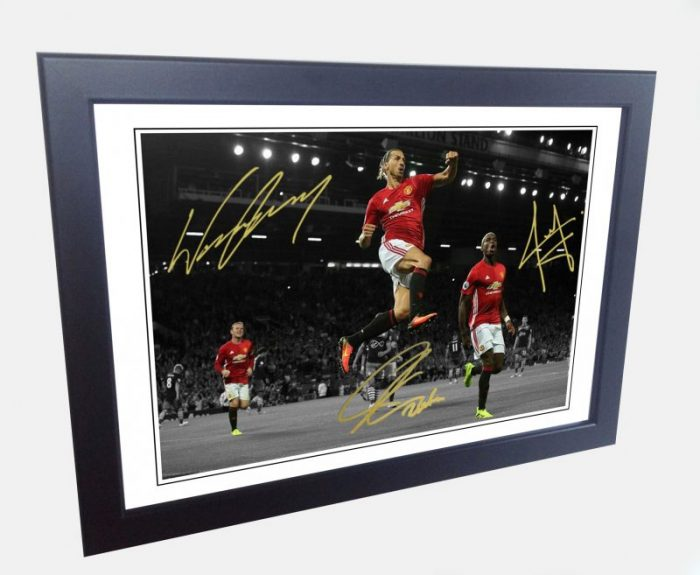 Paul Pogba, Zlatan Ibrahimovic, Wayne Rooney. Signed Manchester United Photo Picture Photograph