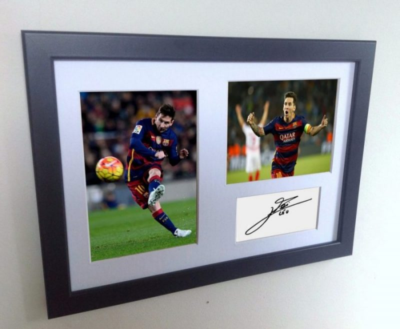 Lionel Messi Signed Barcelona Photo Photograph Picture Frame. Autographed Reprint.