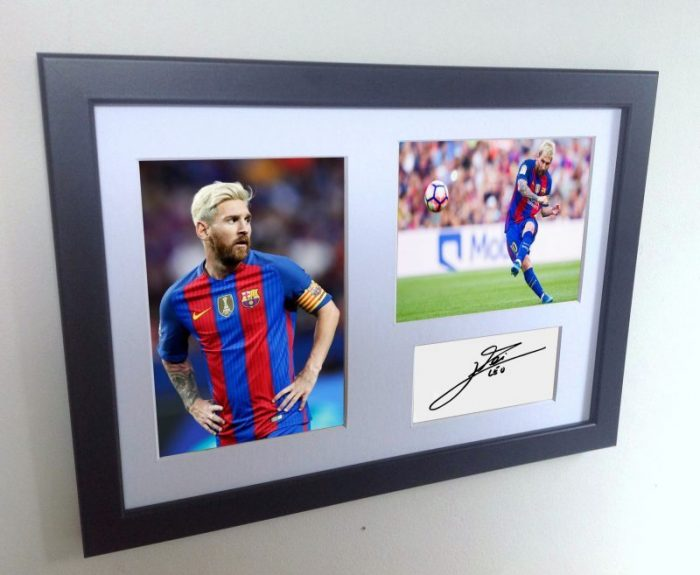 Lionel Messi Signed Barcelona Photo Photograph Picture Frame. Autographed Reprint. 2016/17 Season.
