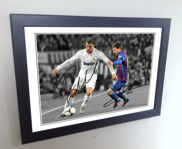 Cristiano Ronaldo, Lionel Messi. Signed Real Madrid, Barcelona Photo Picture