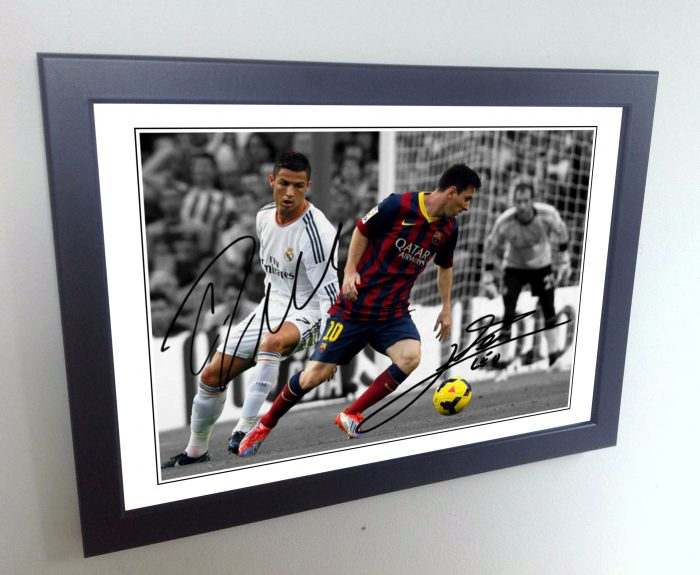 Lionel Messi, Cristiano Ronaldo. Signed Barcelona, Real Madrid Photo Picture