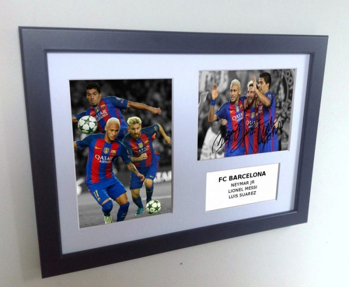 Lionel Messi, Neymar, Suarez. Signed Barcelona Photo Photograph Picture Frame.