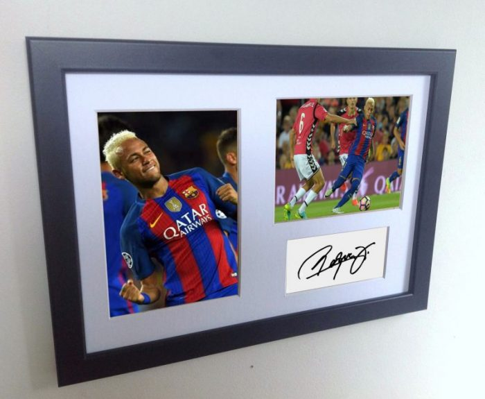 Neymar Jr. Signed Barcelona Photo Photograph Picture Frame. Autographed Reprint.
