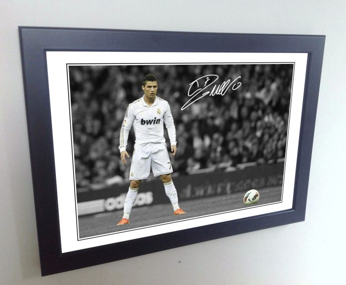 "Cristiano Ronaldo. Signed Real Madrid ""FREEKICK"" Photo Picture Photograph Frame."