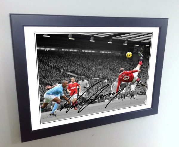 Wayne Rooney. Signed Manchester United Photo Picture Photograph Overhead Goal