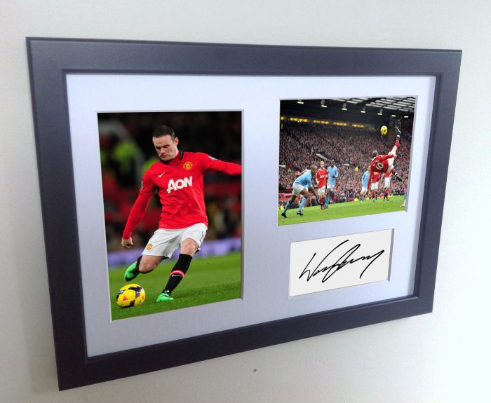 Wayne Rooney. Signed Manchester United Photo Photograph Picture Frame. Autographed