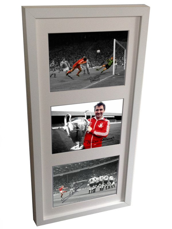 Brian Clough Years Stuart Pearce, Trevor Francis. Signed Nottingham Forest Photo Photograph Picture. Black/White frame. Autographed.