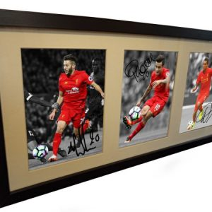 Adam Lallana, Philippe Coutinho, Firmino. Signed Liverpool Photo Picture Frame. Black/White. Photograph Autographed.