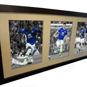 Romelu Lukaku, Yannick Bolasie, Gareth Barry. Signed Everton Photo Picture Frame. Black/White. Photograph Autographed.