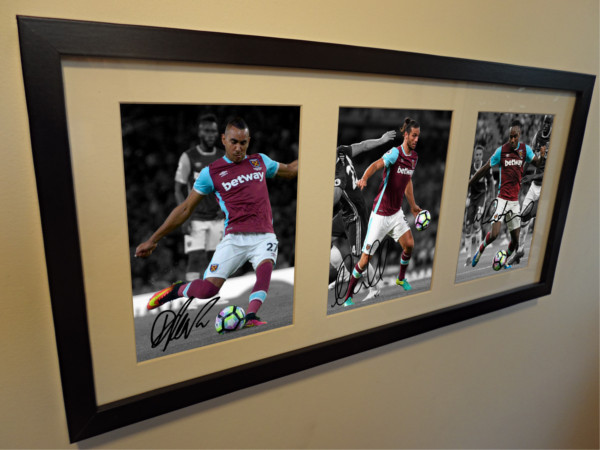 Michail Antonio, Andy Carroll, Dimitri Payet. Signed West Ham Photo Picture Frame.