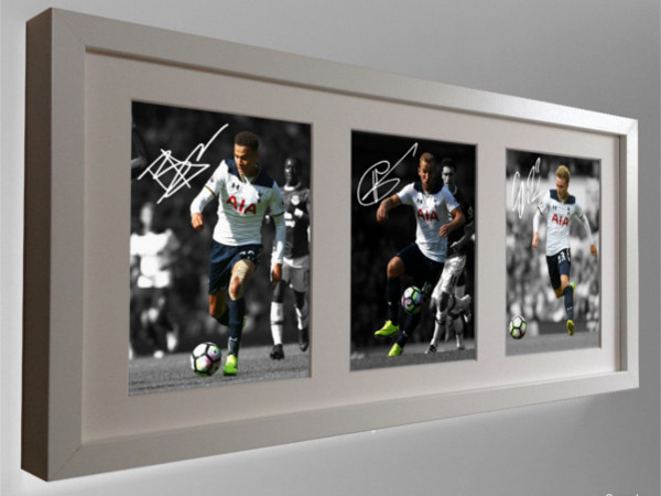 Harry Kane, Dele Alli, Christian Eriksen. Signed Tottenham Hotspur Photo Picture Frame.