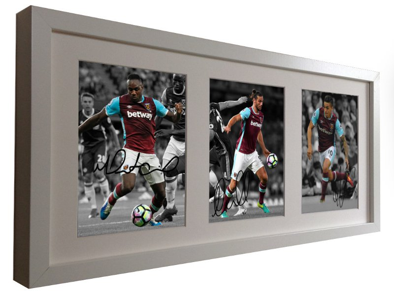 Michail Antonio, Andy Carroll, Manuel Lanzini. Signed West Ham Photo Picture Frame.