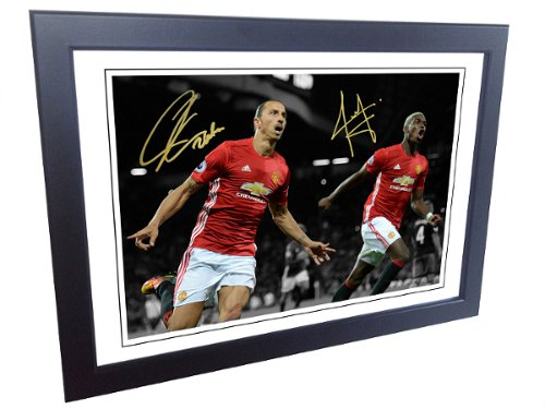 Paul Pogba, Zlatan Ibrahimovic. Signed Manchester United Photo Picture Photograph Frame. Autographed Reprint.