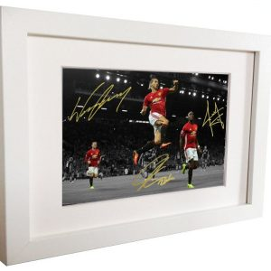 Wayne Rooney Zlatan Ibrahimovic Paul Pogba. Signed Manchester United Picture Photo Photograph Frame. Autographed Reprint. 6×4.