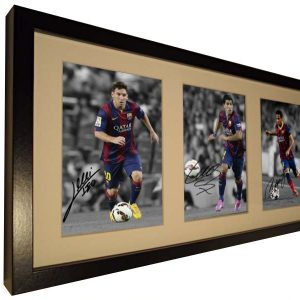 Lionel Messi Neymar Jr Suarez Signed Barcelona Photo Photograph Picture. Black/White frame. Autographed.