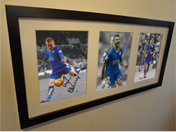 Jamie Vardy, Riyad Mahrez, Okazaki. Signed Leicester City Photo Picture Frame.
