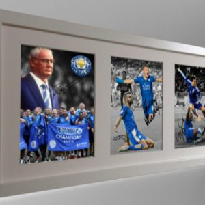 Vardy, Mahrez, Okazaki, Morgan, Ranieri. Signed Leicester City Photo Picture Frame. Celebration Edition. Black/White. Photograph Autographed.