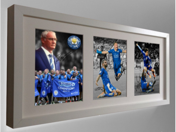 Vardy, Mahrez, Okazaki, Morgan, Ranieri. Signed Leicester City Photo Picture Frame.