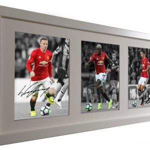 Wayne Rooney, Paul Pogba, Zlatan Ibrahimovic. Signed Manchester United Photo Picture. Black/White frame. Photo Photograph Autographed.