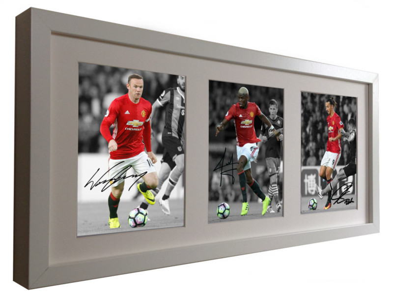 Wayne Rooney, Paul Pogba, Zlatan Ibrahimovic. Signed Manchester United Photo Picture.