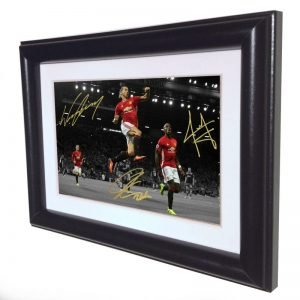 Zlatan Ibrahimovic Wayne Rooney Paul Pogba. Signed Manchester United Photo Picture Photograph Frame. Autographed Reprint. 6×4.