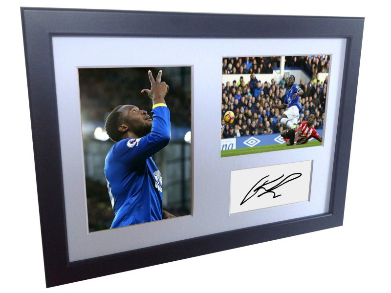 Romelu Lukaku. Signed Everton Photo Photograph Picture Frame. Autographed Reprint.