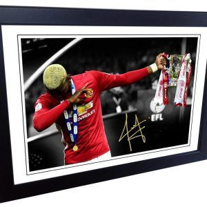 Paul Pogba DAB Signed Manchester United Photo Picture Photograph Frame. EFL Cup. Autographed Reprint. A4 Size (12 x 8).