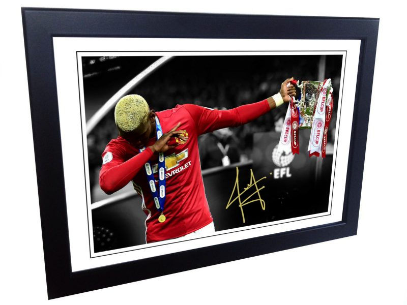 Paul Pogba DAB Signed Manchester United Photo Picture Photograph Frame. EFL Cup.