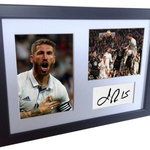 Sergio Ramos. Signed Real Madrid Photo Photograph Picture Frame. Autographed Reprint. A4 Size (12 x 8).