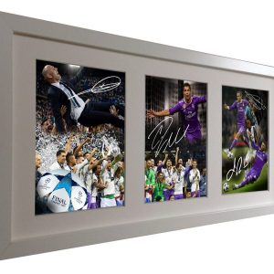Zidane Ronaldo Bale Ramos. Signed real Madrid Photo Picture Frame. Celebration Edition 2017 Champions League Win. Black/White. Photograph Autographed.
