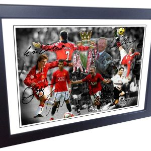 """THE ALEX FERGUSON YEARS"" Celebration -Cantona-Ronaldo-Beckham-Giggs-Rooney-Scholes. Signed Manchester United Photo Picture Photograph Frame. Autographed Reprint. A4 Size (12 x 8)."