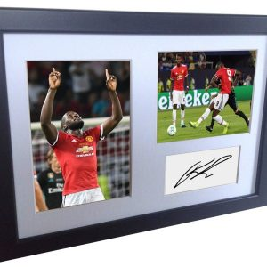 Romelu Lukaku. Signed Manchester United Photo picture photograph Frame. Autographed Reprint. A4 Size (12 x 8).
