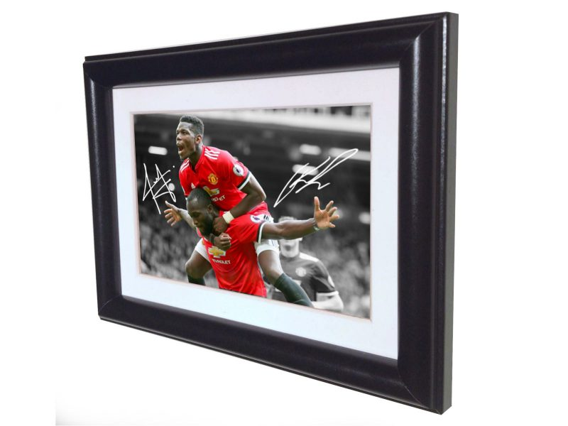 Romelu Lukaku Paul Pogba. Signed Manchester United Photo picture photograph Frame. Autographed