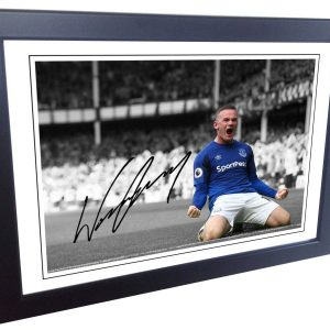 Wayne Rooney. Signed Everton Photo Picture Photograph Frame. Autographed Reprint. A4 Size (12 x 8).