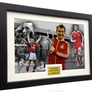 BRIAN CLOUGH YEARS Stuart Pearce Trevor Francis. Signed Nottingham Forest Photo Picture Photograph Frame. Autographed Reprint. A4 Size (12 x 8).