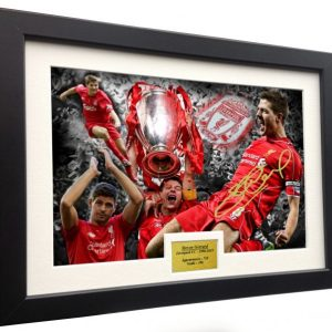 "Steven Gerrard ""CELEBRATION"". Signed Liverpool FC Photo Picture Photograph Frame. Autographed Reprint. A4 Size (12 x 8)."