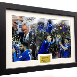 "2015/16 Season ""Premier League Celebration"" Ranieri-Vardy-Mahrez-Okazaki-Kante-Drinkwater. Signed Leicester City Photo Picture Photograph Frame. Autographed Reprint. A4 Size (12 x 8)."